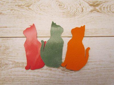 【革のはぎれパーツ】動物・座り猫・カラフルアソート(3枚セット)