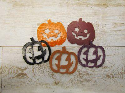 【革のはぎれパーツ】かぼちゃ・ハロウィンカラー(5枚セット)